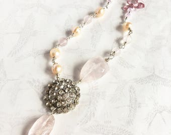 SPRING BLOSSOM - Vintage repurposed upcycled rhinestone necklace with sterling silver wire wrapped freshwater pearls and pink quartz.