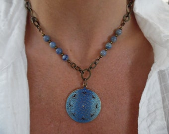 Brass and Blue Jasper Necklace with Brass Pendant