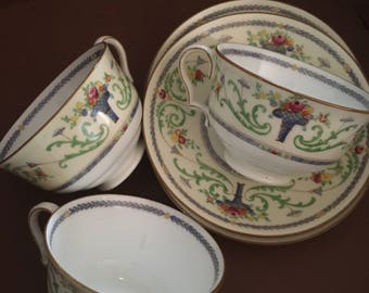 """Royal Doulton """"Blue Laurel"""" 3 tea cups with saucers 