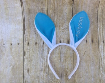 Personalized Easter Bunny Ears, Monogrammed Easter Bunny Ears Headband, Bunny Ears, Headband for Easter, Kids Easter Gifts