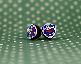 Legend of Zelda: Ocarina of Time Hylian Shield Earring LIMITED RELEASE Laser Cut Wood Version