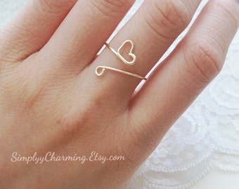 Tiny Heart Swirl Wire Thumb Ring Unique Knuckle Rings Midi Adjustable Ring Simple - Sterling Silver, 14K Gold Filled