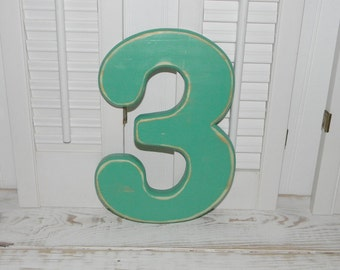 """Number 3 Distressed Numbers 12"""" Tall Wall Decor Birthday Photo Props Wood Numbers"""