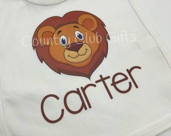 Personalized baby bib, baby gift, lion bib, lion, jungle nursery, baby shower gift