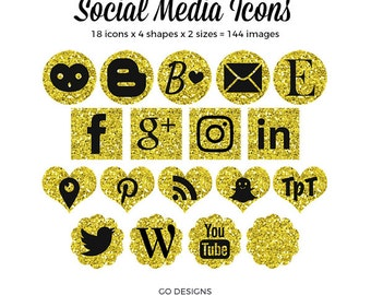 Gold Glitter Social Media Icons | Glittery Gold | Gold and Black | 144 Social Icons