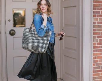 Sale - Linen Tote Bag Black Screen Print Grid Brown Leather Handles