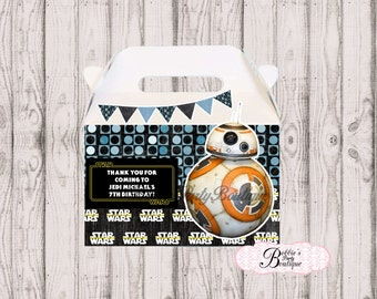 Force Awakens favor box, Force Awakens gable box, 10 Force Awakens party favor gable box, Force Awakens Party