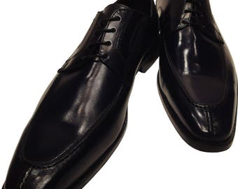 Men's Ronaldo Handmade Solid Black Italian Leather Oxford Tie Dress Shoes