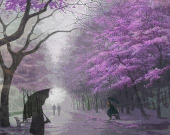 Rainy Day, Wooded Scene, Archival Print, Home Decor, Blossomed Trees, Rendezvous, Umbrellas