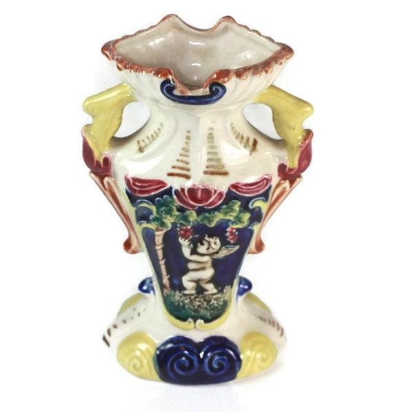 Majolica Cherubs Urn Vase Putti Grapes Vintage 1930s Display