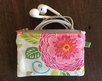 ColorfulFloralZipperPouch