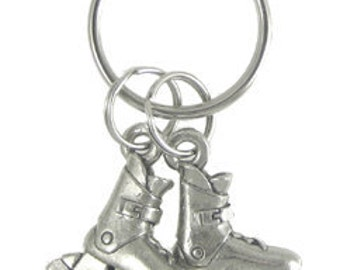 Roller Blades Keychain- K107- Rollerblades, Rollerblading, Bike Path, Recreation, and Sporting Pins