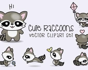Premium Vector Clipart - Kawaii Raccoons - Cute Raccoons Clipart Set - High Quality Vectors - Instant Download - Kawaii Clipart