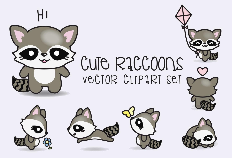 Premium Vector Clipart Kawaii Raccoons Cute Raccoons