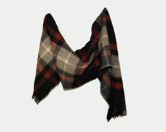 80's plaid wool scarf, Made in West-Germany
