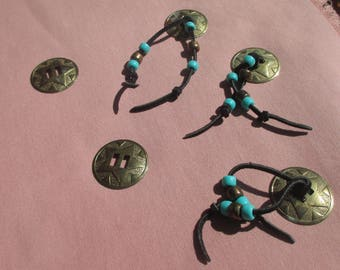 Lot Of Retro Star Shaped Conchos Some With Beads Black Suede Ropes Patina Rust Verdigris