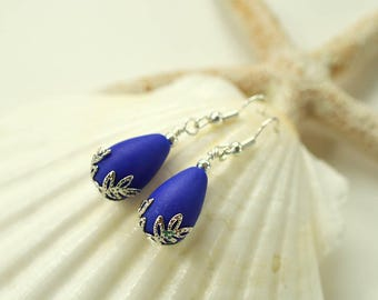 Cobalt blue sea glass earrings frosted glass earrings filigree bridesmaids sterling silver hypoallergenic beaded earrings seaglass jewelry