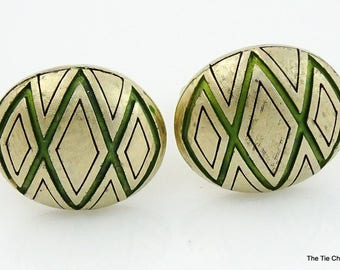 Big Chunky Cufflinks Green and Gold Tone Hickok