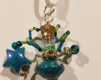 Celestial Green Teal Potion Bottle Necklace