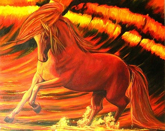 Marine Painting :  the red horse   is as powerful as the red wave  - oil on canvas, unframed, 80x80cm