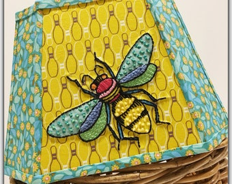 ENTOMOLOGY Handmade BOWLING and Fly LAMPSHADE Lamp Shade with Hand Embroidered Appliqué Bowling Pin Fabric Anna Maria Horner 8 x 12 x 8.5