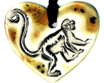 Monkey Love Heart Ceramic Necklace in Earth Tones