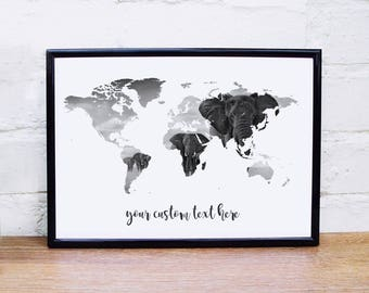 Monochrome print world map custom quote poster slate wall art elephant poster world map wall art custom quote elephant print black white wall art poster wanderlust gumiabroncs Images