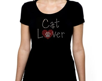 Cat Lover RHINESTONE t-shirt tank top  Bling S M L XL 2XL - Kitty Heart Animal Pet Rescue Love Kitten