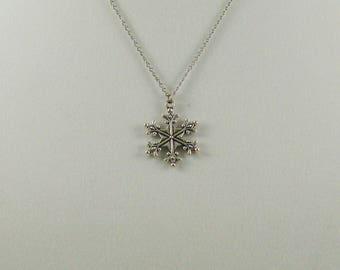 Antique Silver Snowflake Necklace