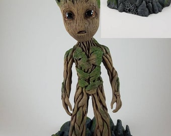 "Baby Groot life size sculpture statue 9.5"" tall base and Groot combo (V1)"