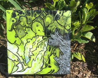 Lime Acrylic Pour Wall Hanging 5.5inx5.5