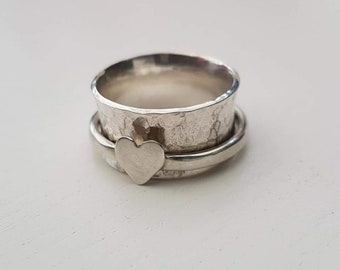 Hammered Silver Heart Spinning Ring
