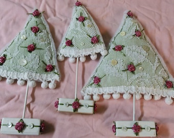 Set of 3 Green White ChenilleTrees,Soft Sculpture Holiday Display,Repurposed Linens,Chenille Tree Decor,Stuffed Tree Scape