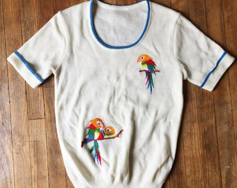 Beautiful Vintage Embroidered Parrot Sweater