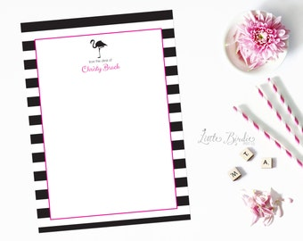 Personalized Flamingo Notecards - Black, White, and Pink