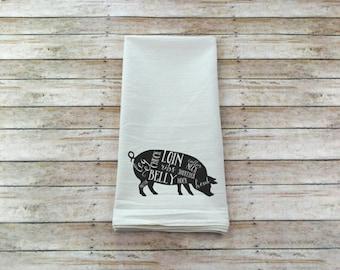 Pig Dish Towel - Butcher Tea Towel - Flower Sack Towel - Housewarming Gift - Kitchen Decor - Kitchen Towels - Tea Towels - Kitchen Gifts