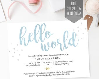 blue baby shower invitation, Hello World, editable PDF template, instant download, editable, simple, print at home
