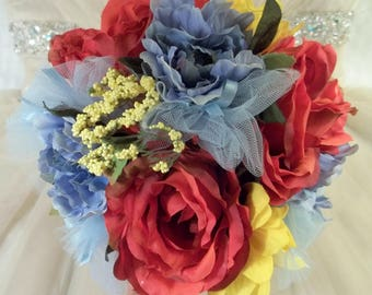 Blue yellow bouquet etsy sale wedding bouquet silk bridal bridesmaid rust roses blue yellow mixed flowers bows mightylinksfo