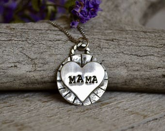 Sterling Silver 'Mama' token necklace