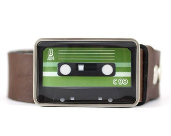 Audio Cassette Belt Buckle, Retro Belt Buckle, Green belt buckle