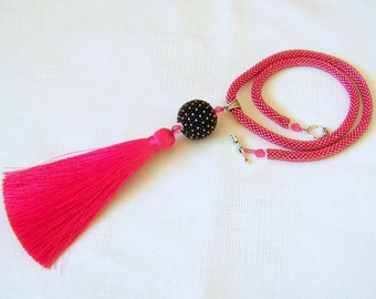 Hot Pink Tassel Necklace - Long Necklace - Bead Crochet Rope Necklace - Bright Necklace - Statement Tassel necklace - tassel pendant