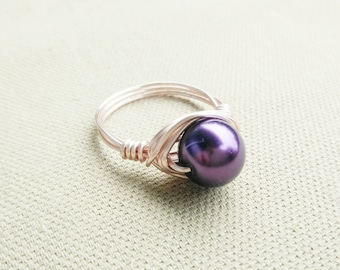 Pearl Ring- Rose Gold Pearl Ring- Purple Pearl Ring- Pearl Jewelry- Pearl Jewellery- Pearl Ring- Pearl Purple Ring- Purple Ring- Rose Gold