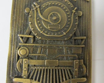 Vintage Brass Train Belt Buckle Indiana Metal Craft 1977