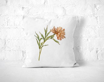 Flower Throw Pillow, Shabby Chic Pillow, Floral Pillow, Vintage Flower Pillow, Peony Pillow, Pretty Throw Pillow, Cute Pillow, Peach Pillow