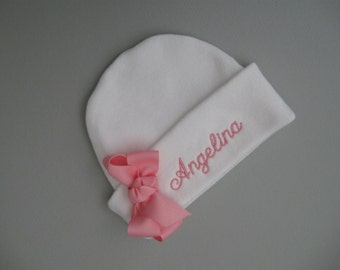 Cuff NEWBORN GIRL HAT, Bright Pink Name and Bow, Monogrammed, Hospital hat, Beanie hat, Baby girl hat, Newborn baby girl hat,