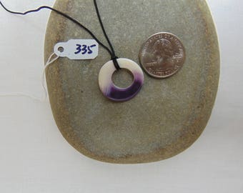 Cape Cod Wampum Quahog Shell Pendant Necklace (335)