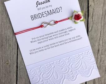 Bridesmaid proposal gift, Bridesmaid box, Bridesmaid gifts, Maid of honor gift, Wish Bracelet, Be my bridesmaid, Bridal party gifts, B3
