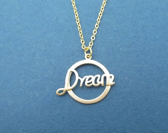 Dream, Gold, Necklace, Modern, Dream, Necklace, Birthday, Lovers, Best friends, Sister, Gift, Jewelry