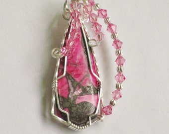 S-25 Pink Agate Wirewrapped Pendant Sterling Silver, Agate Pendant, Agate Necklace, Gemstone Pendant, Gemstone Necklace