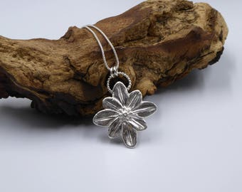 Large Flower Necklace, Fine Silver Flower Pendant, Pmc Necklace, Silver Clay Jewelry, Unique Flower Jewelry for Her